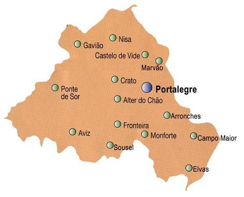 Mapa Do Distrito De Portalegre Portugal Plano De Viagem Mapa