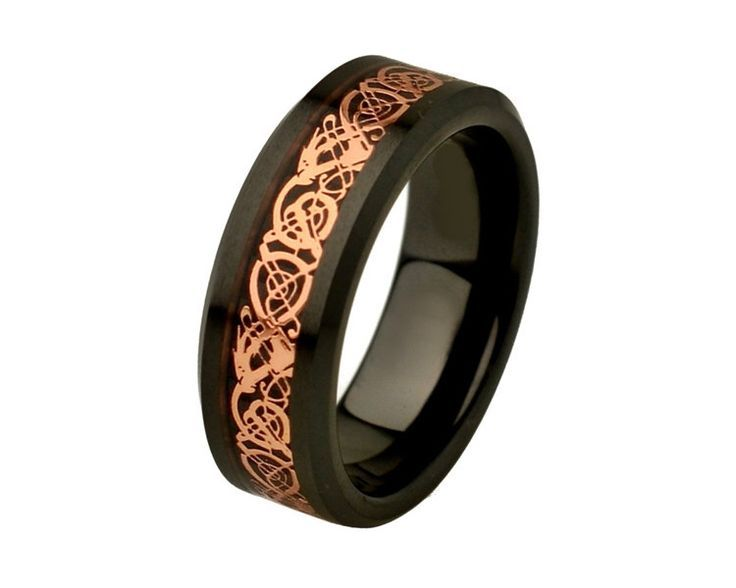 Unique Mens Wedding Band Celtic Rings Ceramic Wedding Band Promise