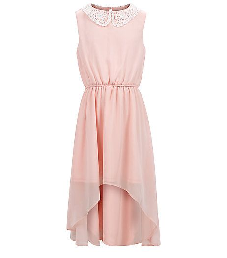 Robe fille rose à col en crochet et ourlet plongeant | New Look ...