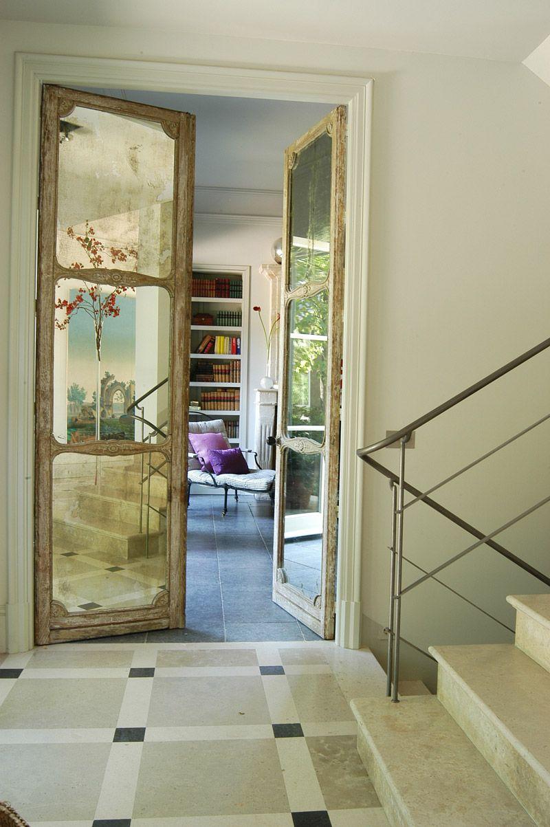 Antique Mirrored Doors, Modern Stair Rail
