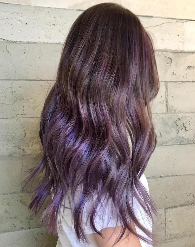 Long Brown Hair With Subtle Purple Balayage Purple Balayage Balayage Hair Purple Long Brown Hair
