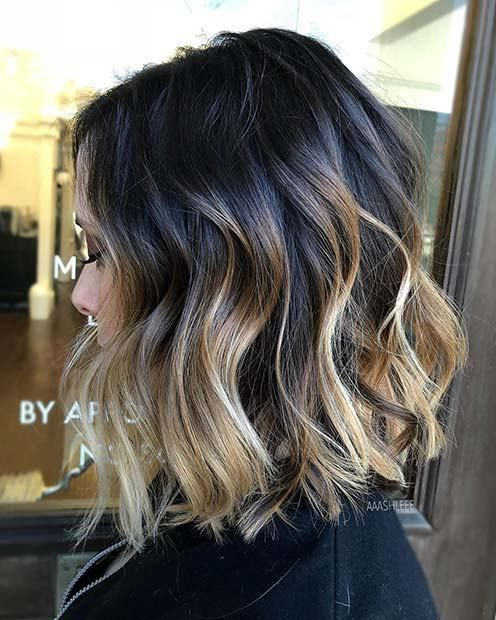 21 Chic Examples Of Black Hair With Blonde Highlights Black Hair With Blonde Highlights Short Hair Balayage Blonde Highlights