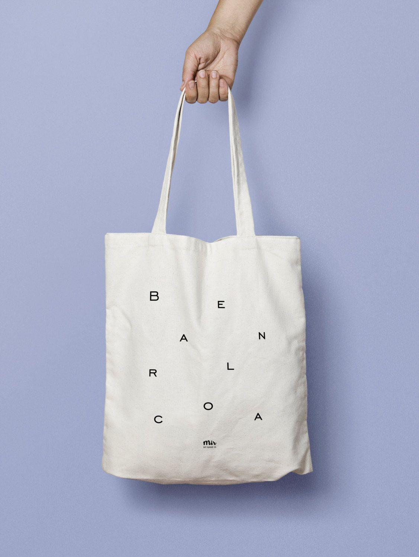 White Lettering Puzzle Tote Bag Minimal Canvas Modern Barcelona E2WID9H