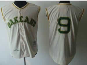 d5fbb2b7 ... Oakland Athletics 9 Reggie Jackson 1968 Mitchell cream sleeveless Jersey  .