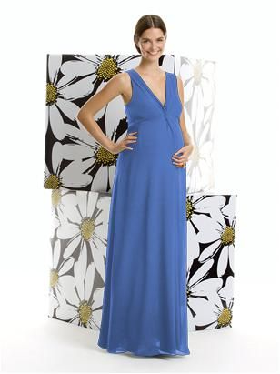 Alfred Sung Maternity Dress Style M406 Full Length V Neck Nu Georgette Bridesmaid Has Deep With Shirring Detail