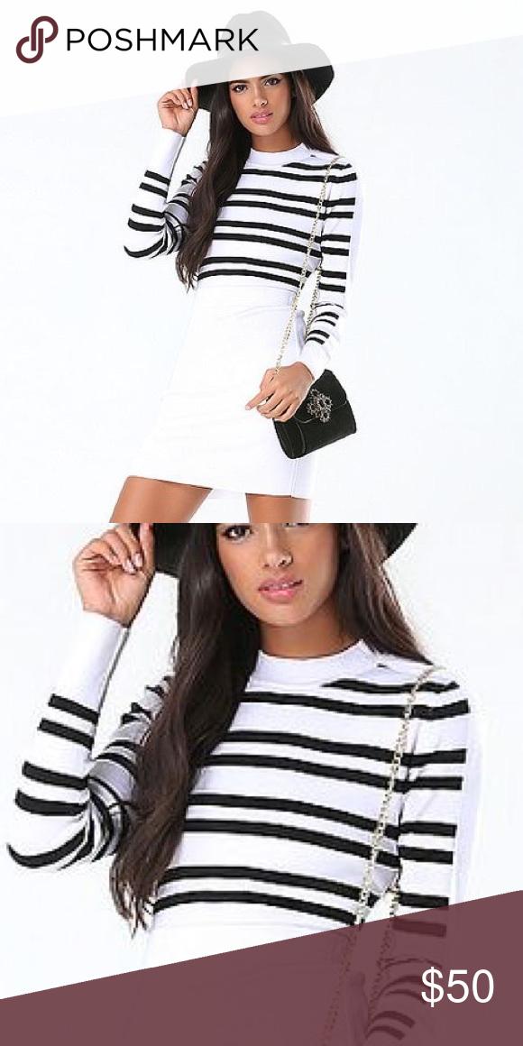 b6137e99ecdd4 Bebe black white striped sweater crop top s Never worn super hot crop top  bebe Tops Crop Tops
