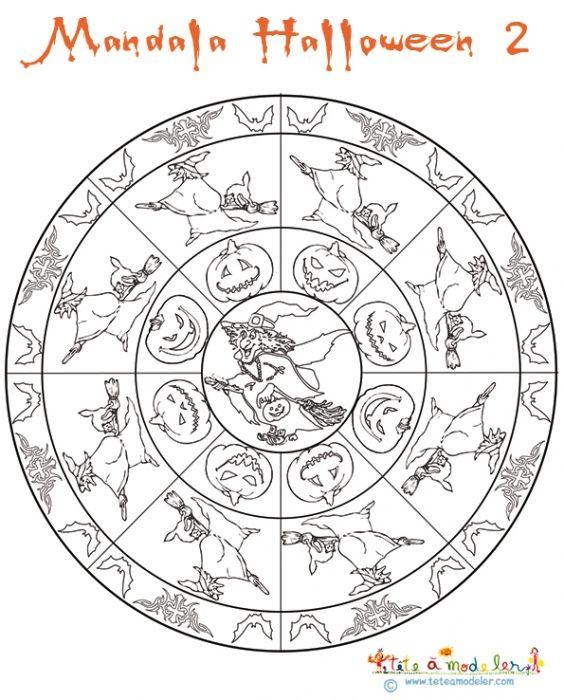 Mandala des sorci res sur t te modeler mandalas halloween mandala et activit s halloween - Coloriage pour les grands ...