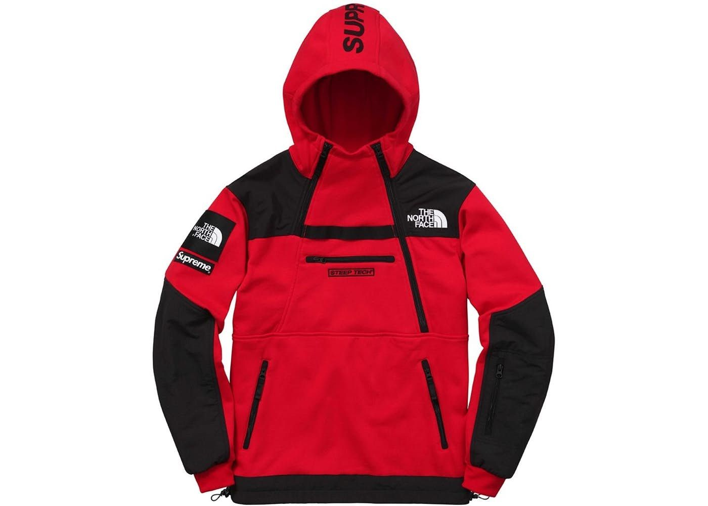 Supreme The North Face Steep Tech Hooded Sweatshirt Red In 2021 North Face Jacket Mens Dress Suits For Men Outerwear Outfit [ 1000 x 1400 Pixel ]
