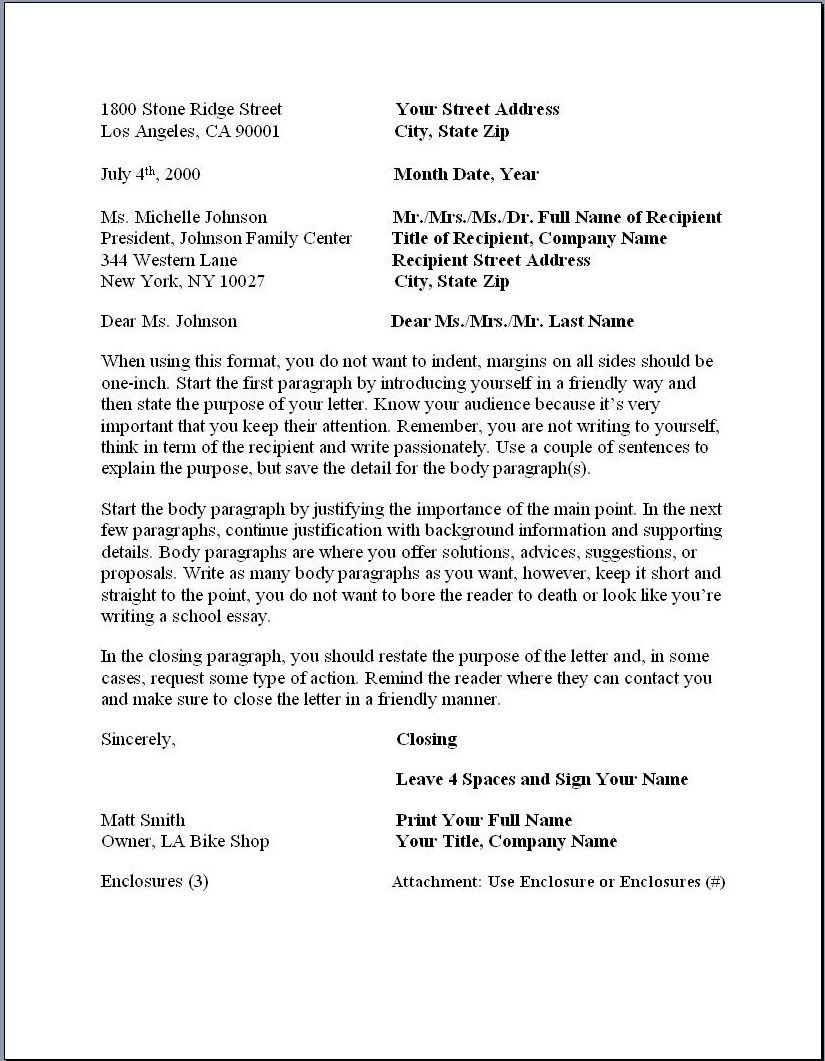 Sample Business Letter Format Example Businessprocess