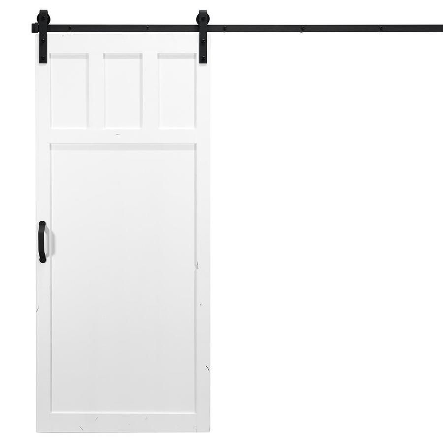 Dogberry Craftsman White Stained 3 Panel Square Wood Knotty Alder Barn Door Kit Hardware Wood Doors Interior Frosted Glass Interior Doors Glass Doors Interior