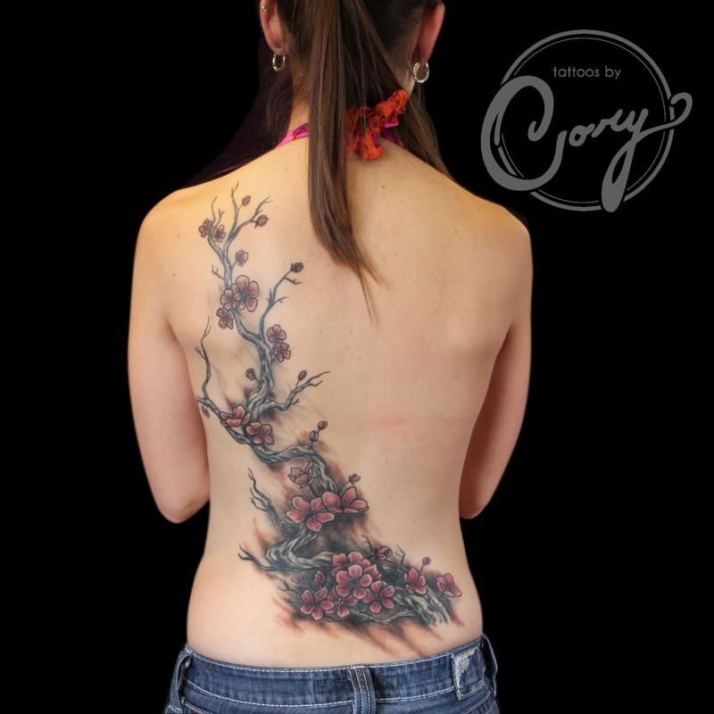 Cherry Blossom Coverup Tattoo By Cory Claussen This Tattoo Was