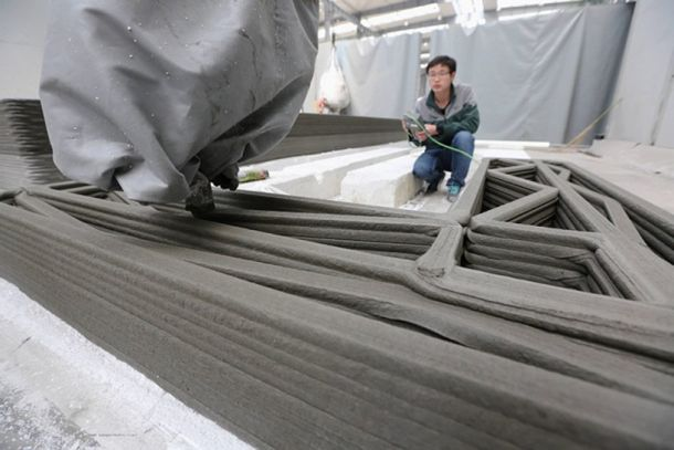 Chinese company 3D prints recycled concrete houses. Read more here: http://morewithlessdesign.com/2014/04/29/chinese-company-3d-prints-recycled-concrete-houses/