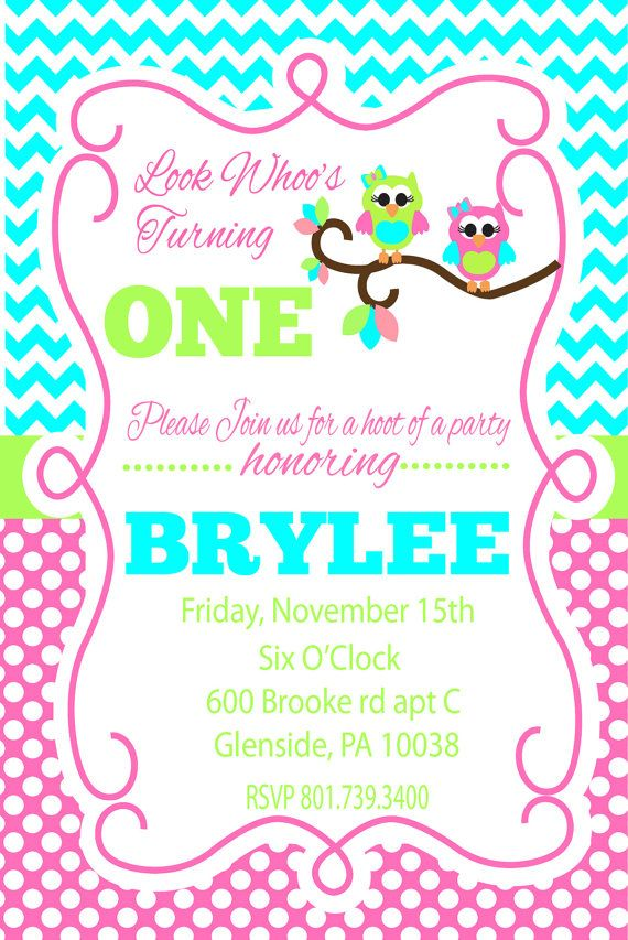 Look Whooo\'s turning One Owl Birthday Invitation by PerfectHostess ...