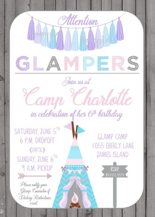 Glamping campout birthday party invitation for girl teepee and glamping campout birthday party invitation for girl teepee and tassels rustic wood background filmwisefo