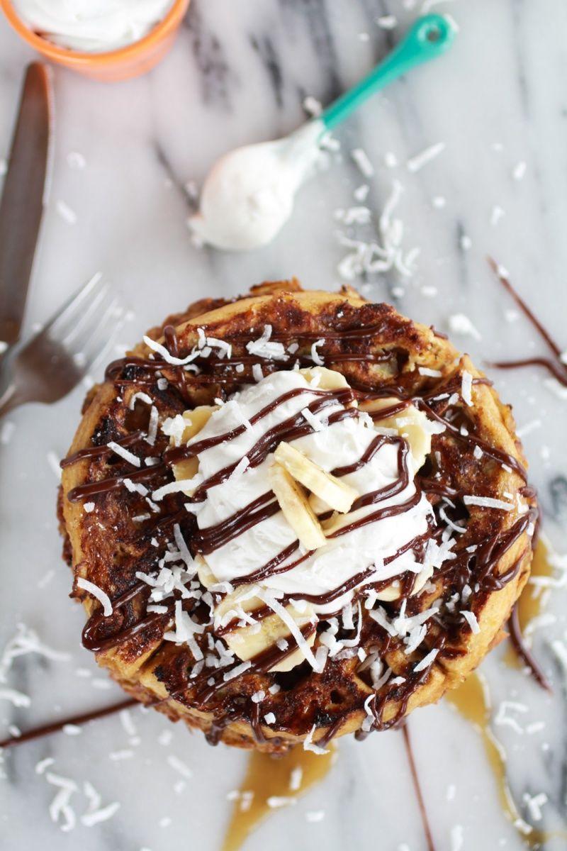 caramelized coconut banana bread waffle french toast ...