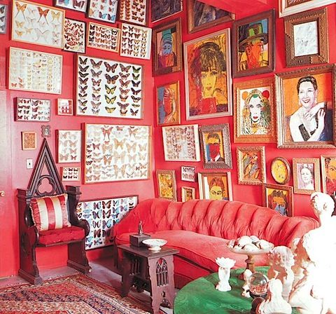 wall of paintings   Dream Home   Pinterest   Red rooms, Walls and Room