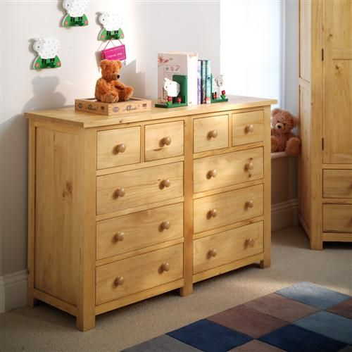 Cheap Furniture With Delivery: Oakley Pine 10 Drawer Double Chest (L287) With Free