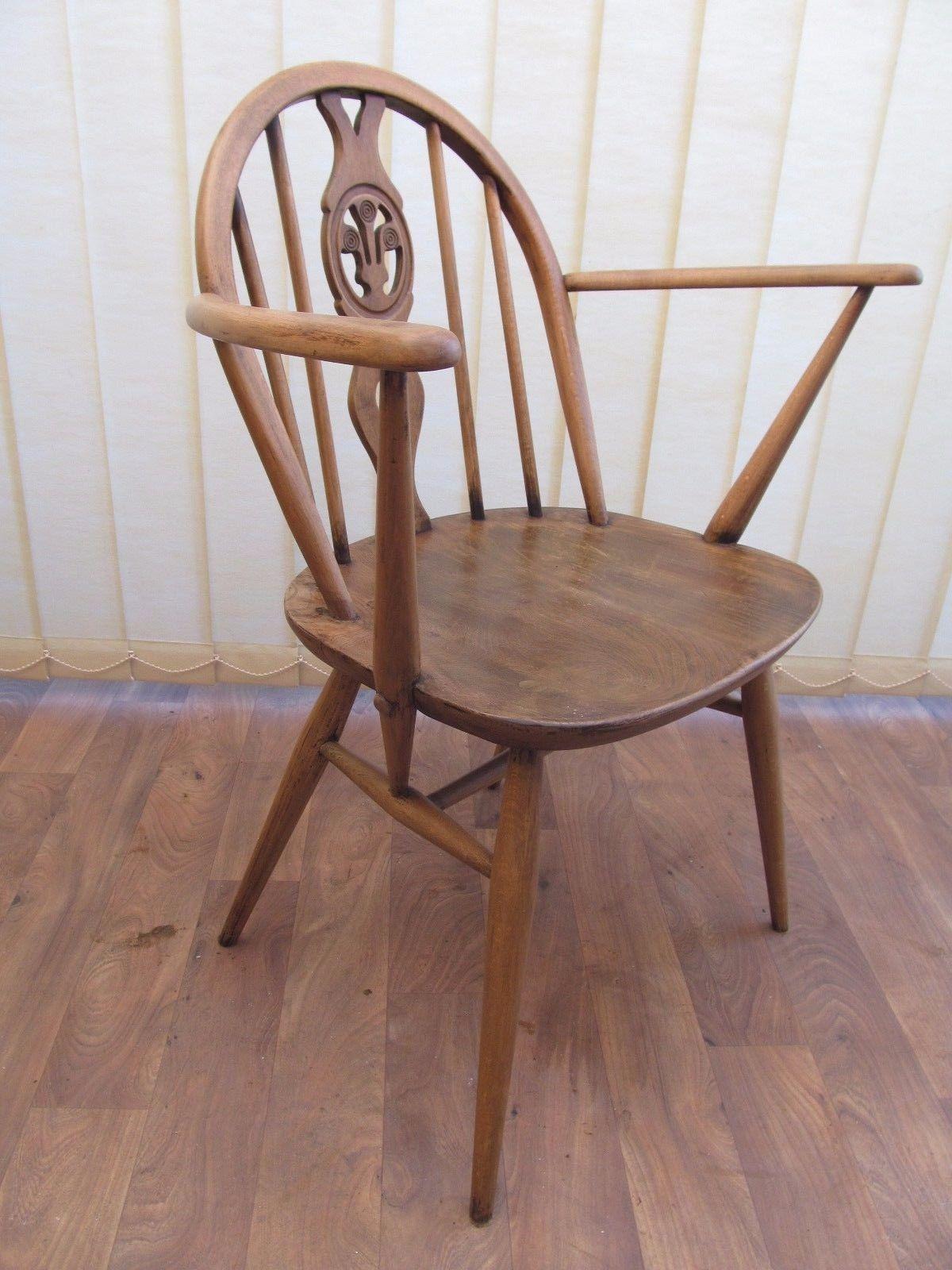 Lys Vintage 60s ercol chair carver arm chair fleur de lys vintage mid century