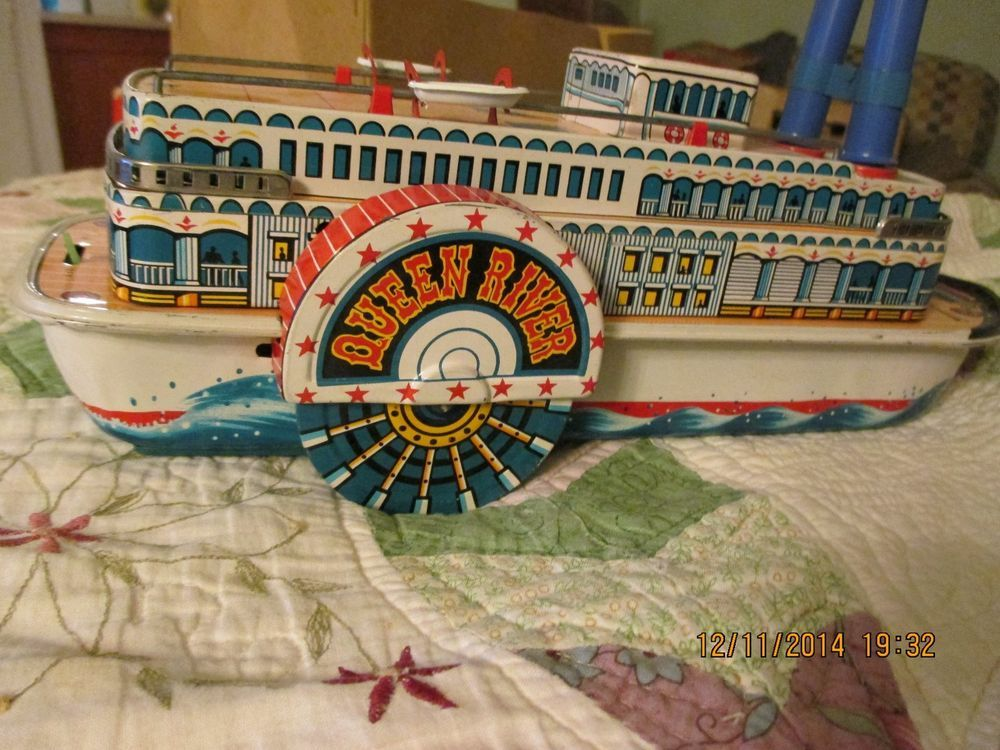 Vintage tin toy whistling show boat, rare, battery operated | Tin ...