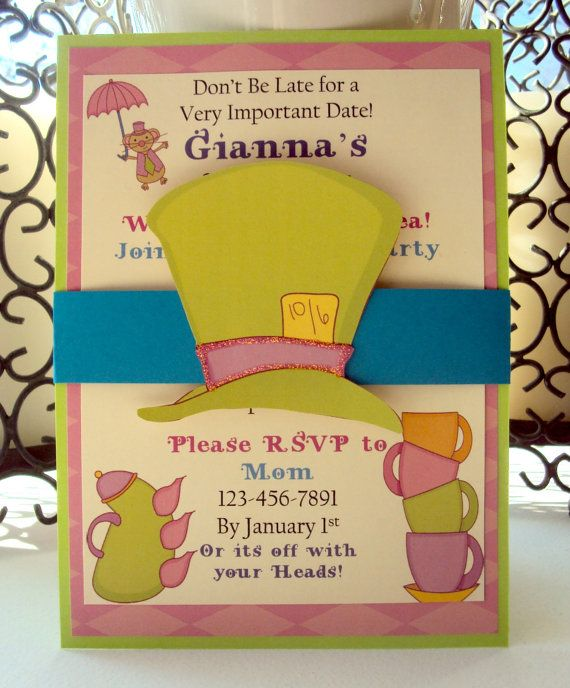 Wonderland Birthday Invitation Tea Party Invitation Alice In