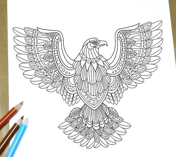 eagle mandala coloring pages - flying eagle coloring page adult coloring page print