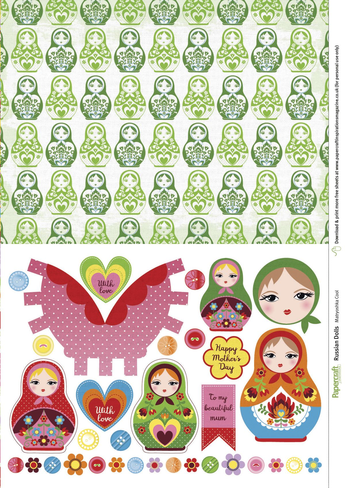 Free Printable Russian Doll Papers From Papercraft Inspirations 162 Papercraft Inspirations Free Scrapbook Paper Paper Crafts Paper Template Free