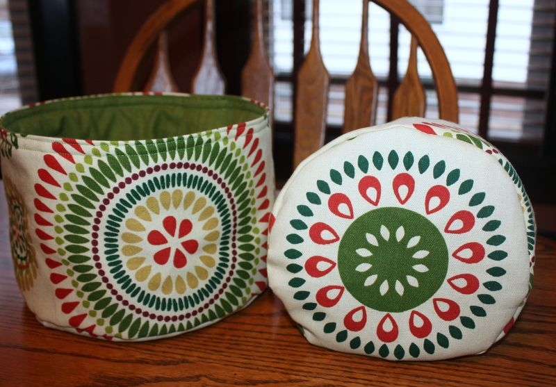 Round fabric baskets using this tutorial:http:/...  These are not very stiff, but nice for little things, and stand up quite well regardless.