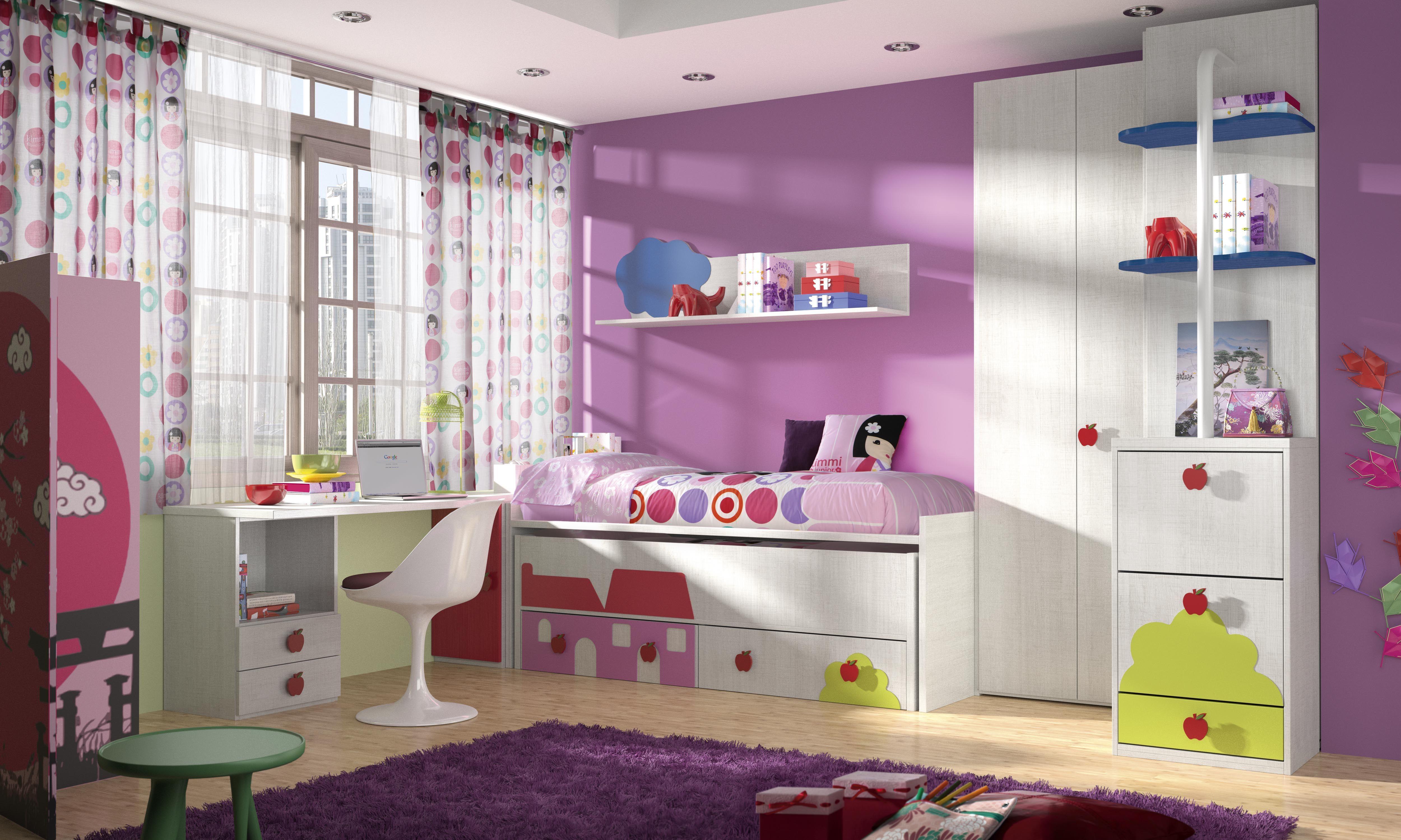 Habitaci n infantil tem tica paisajes dibujos animados kd1 - Dibujo pared habitacion infantil ...
