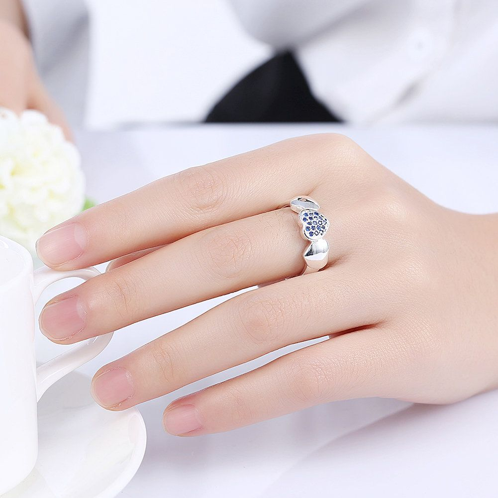 YUEYIN Sweet Ring Heart Blue Zircon Ring for Women Gift | Pinterest ...