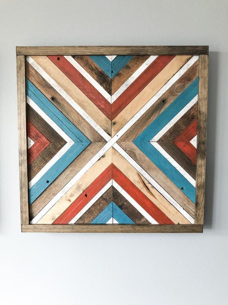 Geometric chevron wood wall artdecor set 17in x 17in