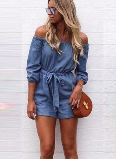 7ae5323a76 Cute off Shoulder 3/4 Sleeve Denim Romper with Belt 👀 #hellofashionista # fashion #fashionistas #women #womensfashion