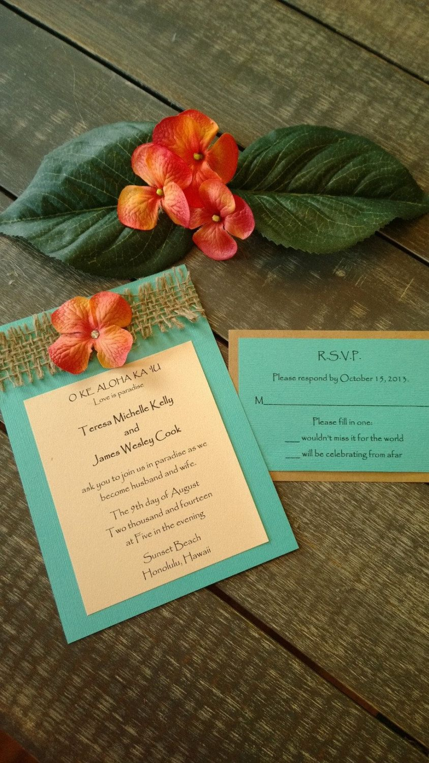 Rustic and Beach themed Destination Wedding Invitation Set with ...