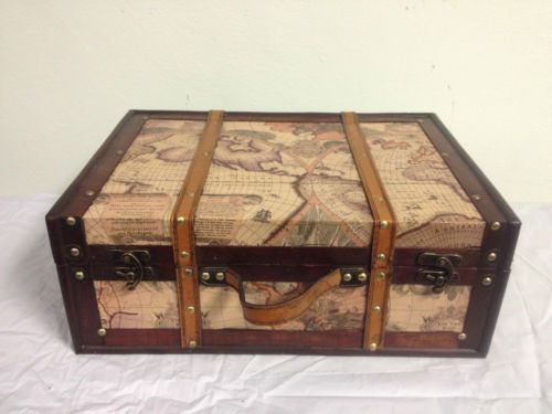 Antique vintage style world map decorative wooden suitcase fh 004a antique vintage style world map decorative wooden suitcase fh 004a gumiabroncs Image collections