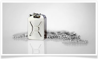 The Jerry can pendant. Wear it with a tee or dress it up with your favorite sweater. Charity:Water.