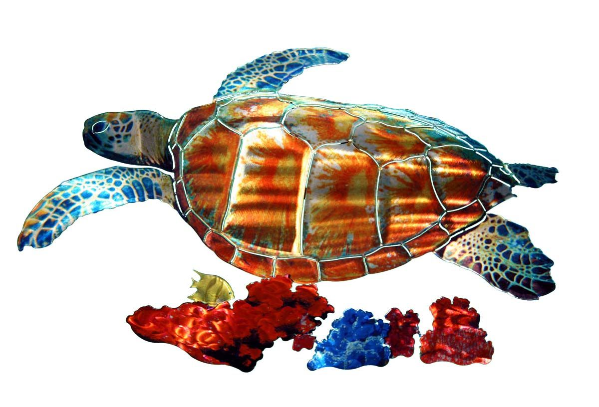 Tropical sea turtle metal wall art sculpture tropicalwallartcom