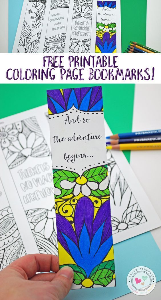 Free Printable Adult Coloring Page With Bookmarks | Bookmarks ...
