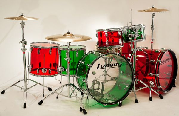 Now This Is A Merry Christmas Drumset Ludwig Vistalite Red And Green Drums