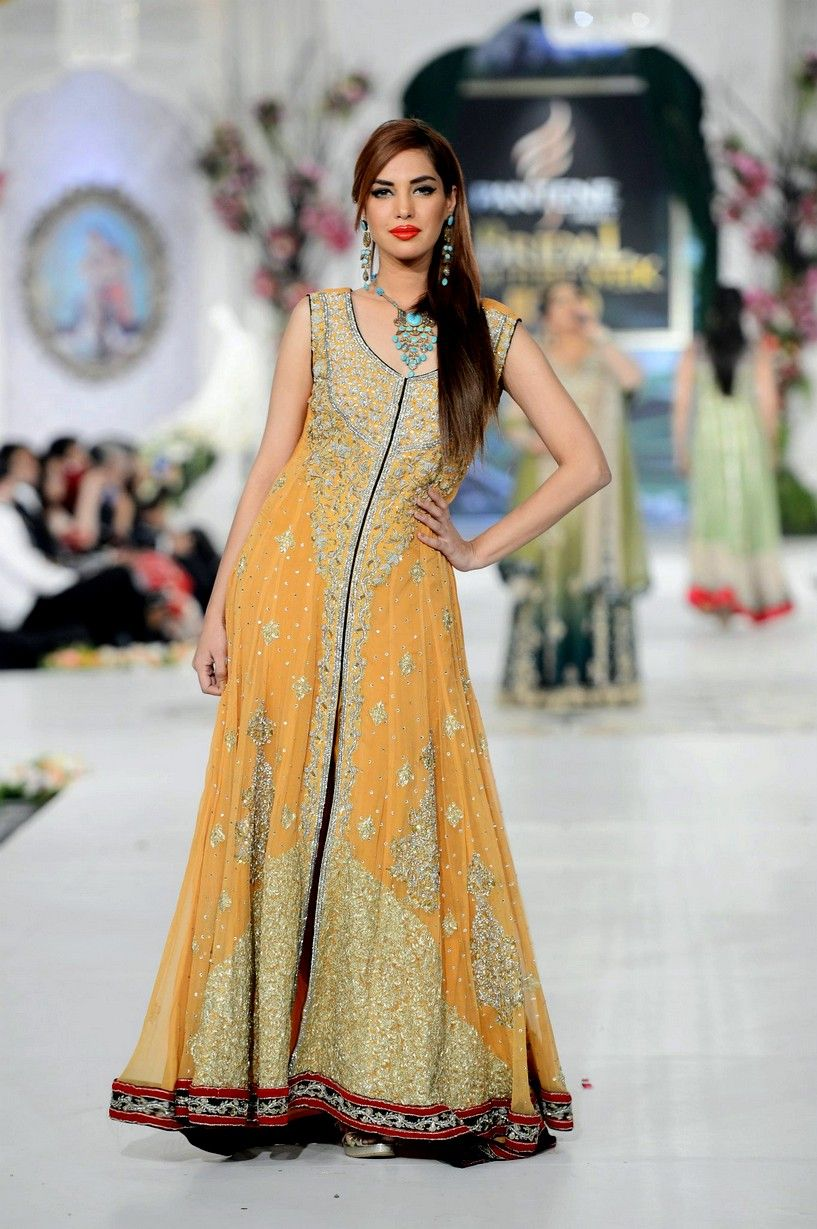 Rani Emaan Bridal Maxi Dress Mehendi Outfits Pakistani Fashion