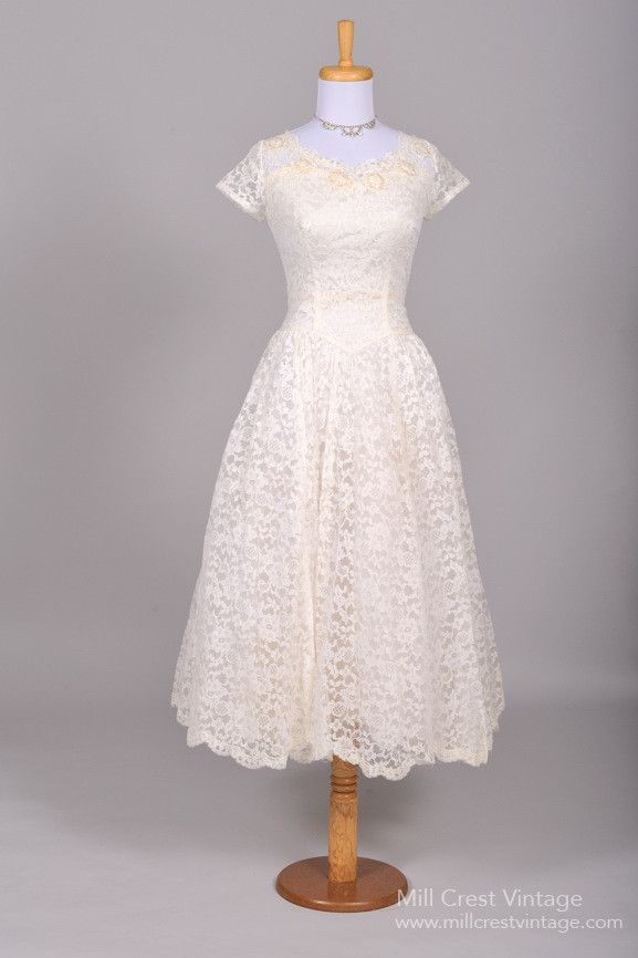 59c74d3cea1 Fabulous Vintage 1950s Wedding and Bridesmaid Dresses from Mill Crest  Vintage Tea Length Wedding Dress