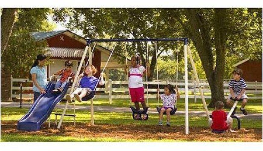 Flexible Flyer Fun Time Metal Swing Set Outdoor Kids Slide ...