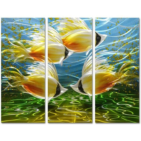 Pure Art Tropical Fish at Sea Nautical Metal Wall Art Small Ocean ...