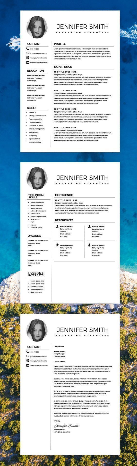 resume with photo  marketing resume template  resume template word creative with cover letter
