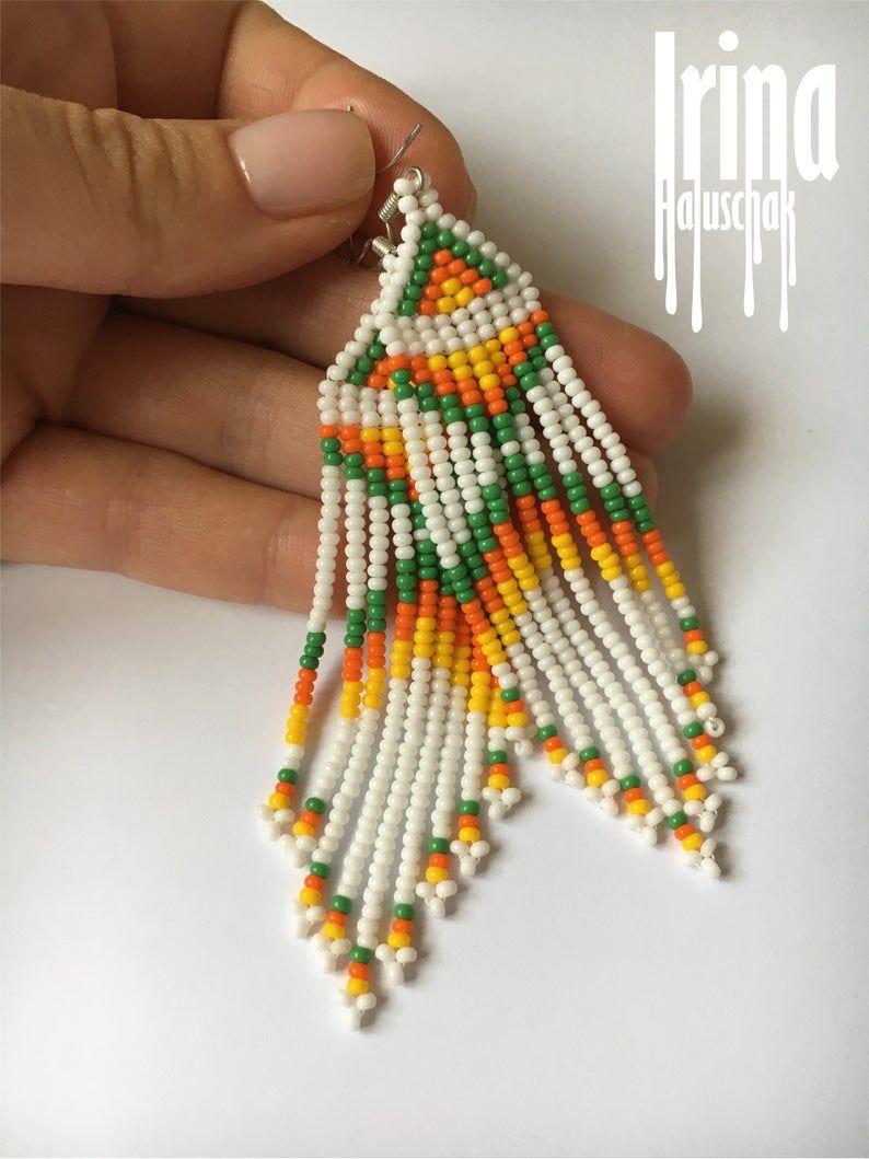 Long Seed Bead Earrings  Beaded Fringe Earrings  Boho Beaded Earrings  Tribal  Bohemian  Seed Bead Earrings  Boho