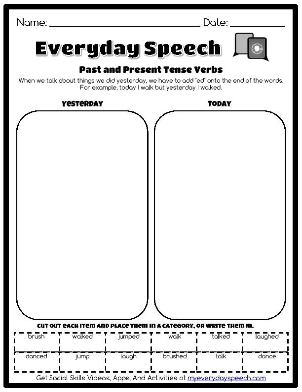 Past And Present Tense Verbs Everyday Speech Speech Therapy Worksheets Social Skills Therapy Worksheets