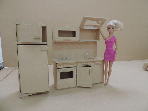 Casita de mu ecas barbie con muebles lista para pintar - Muebles casas munecas ...