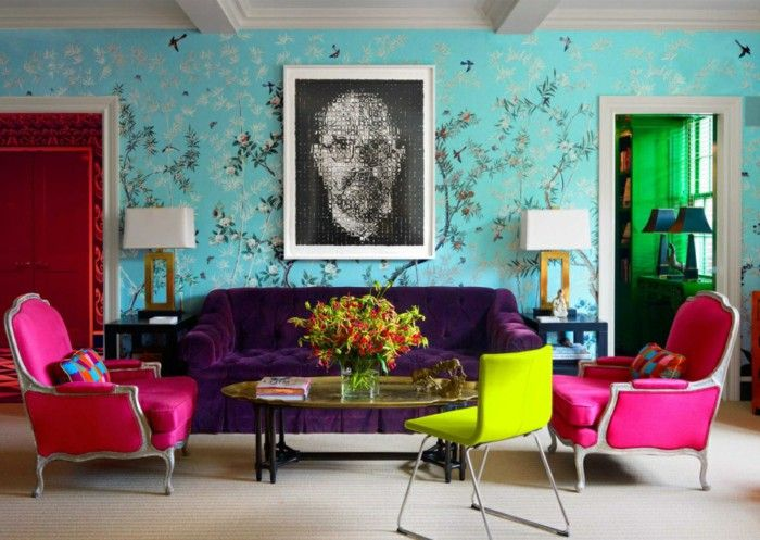 colorful living room design and wall
