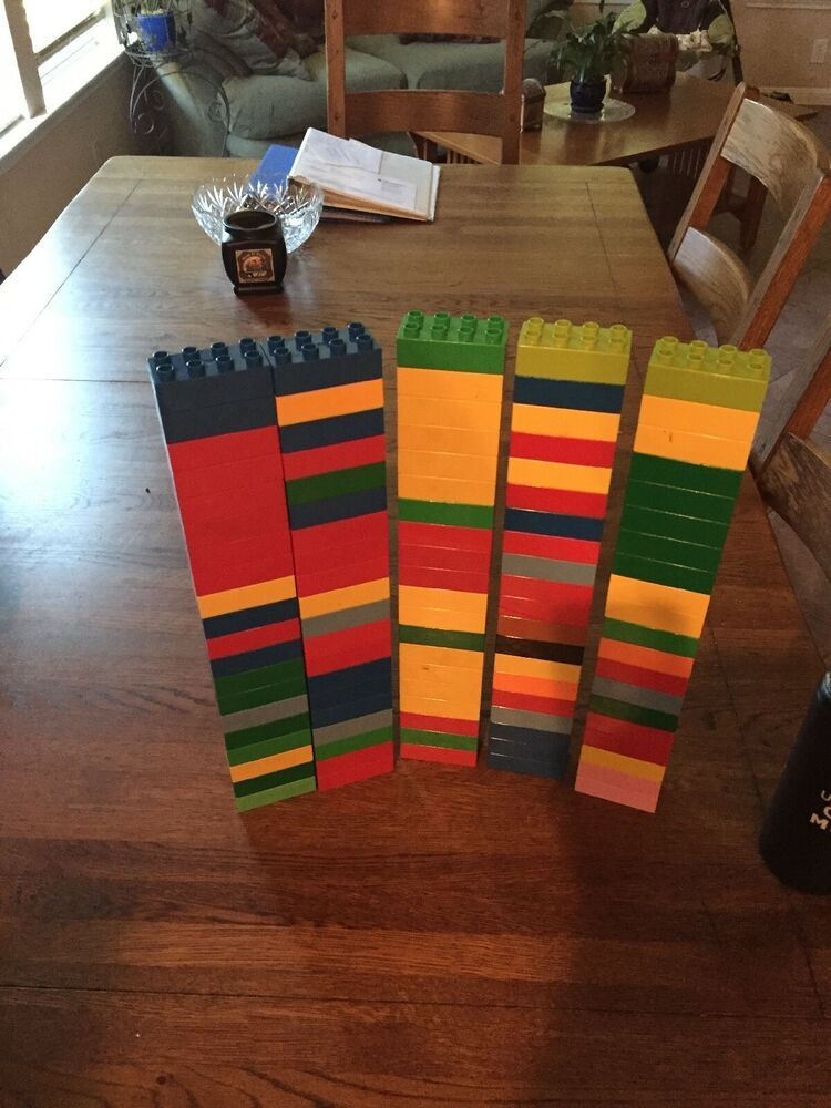 100 Lego Duplo 2X4 bricks red yellow blue green