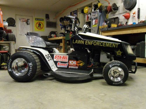 """Man On Tractor Lawn Enforcment : Vtwin racing lawnmower """"lawn enforcement gocarts"""