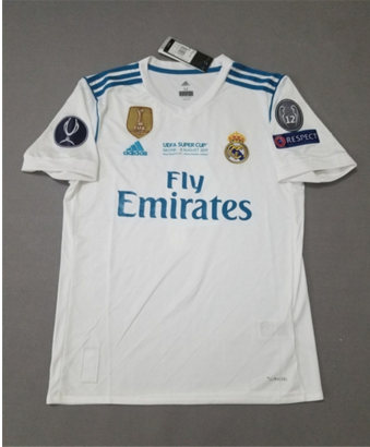 8fd1d991 Adult Real Madrid Home White Climacool Fans Version Jersey 2017/18 UEFA  SUPER CUP with champions 4 printing