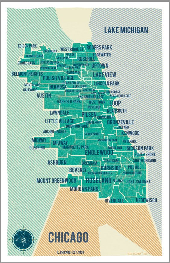 City of Chicago Map Poster Vintage Style Poster Stylized map of